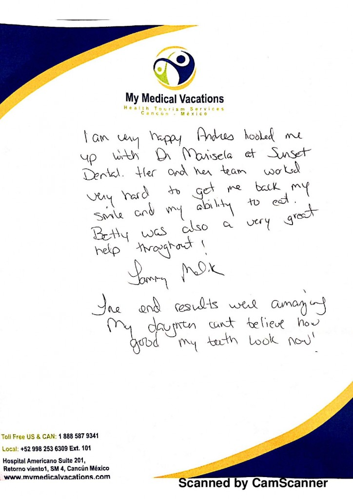 ALL ON 4 – DENTAL HANDWRITTEN TESTIMONIAL FROM WISCONSIN, USA