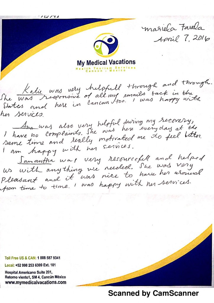 BRAZILIAN BUTTOCK AUGMENTATION HANDWRITTEN TESTIMONIAL FROM CALIFORNIA, USA