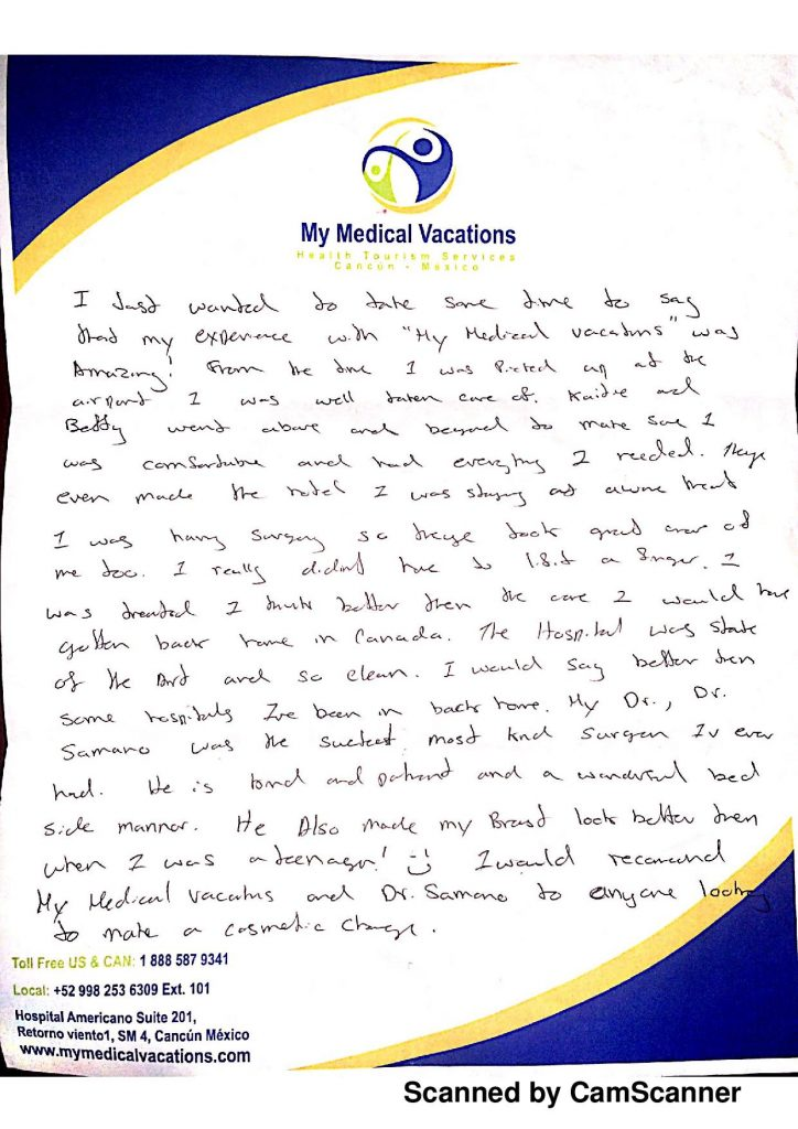 BREAST LIFT AND LIPOSUCTION HANDWRITTEN TESTIMONIAL FROM ONTARIO, CANADA