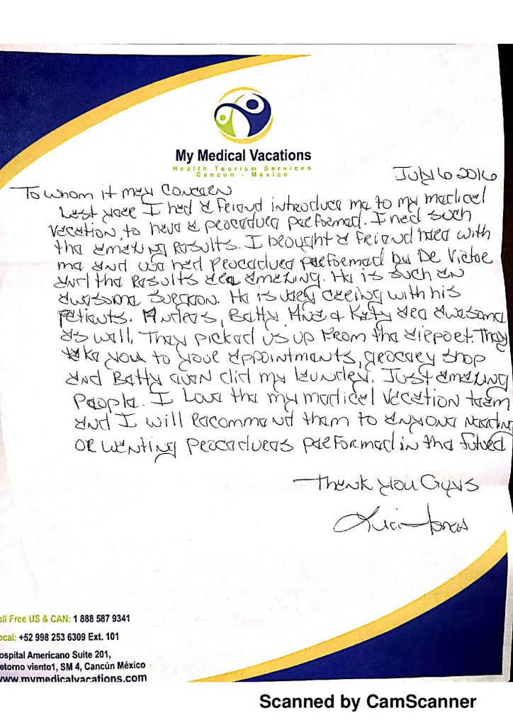 BREAST LIFT WITH IMPLANT EXCHANGE HANDWRITTEN TESTIMONIAL FROM SEATTLE, WA. USA